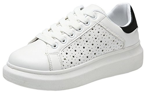 EOZY Chaussures Sneakers à Lacet Femme Blanches Chaussures Basses Cuir Pu Sport Baskets Casual
