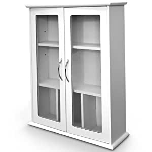 Wall Cabinet Bathroom Showcase Glass Doors White Wood 53 X