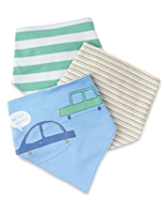 3 Pack Pure Cotton Striped & Car Print Dribble Bibs