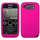 Wayzon Hot Pink Nokia E72 Case Cover Skin Pouch Shell Plain Silica Rubber