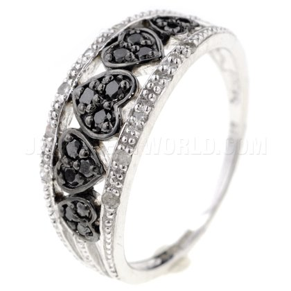 Black & White Diamond 9ct White Gold Hearts Ring