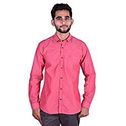 CORTOS Pink 100% Cotton Polka Dot Regular fit casual Solid Shirt (Size: XXX-Large)