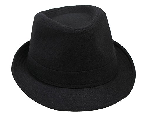 Men's Manhattan Fedora Hat Printed Letter Cap, Black Color