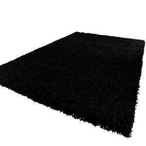 Shaggy Rug High Pile Long Pile Modern Carpet Uni Black from PHC