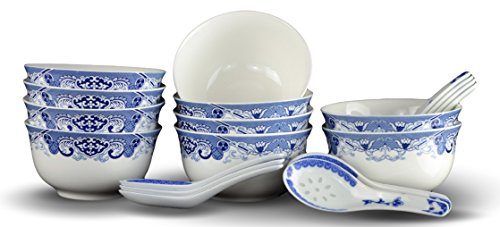 10 Pcs Fine Bone China Blue and White Bowl, with Free 10 Porcelain Spoons, Rice Bowl, Cereal Bowl, Soup Bowl, Fruit Bowl Set (Soup Bowls Set compare prices)