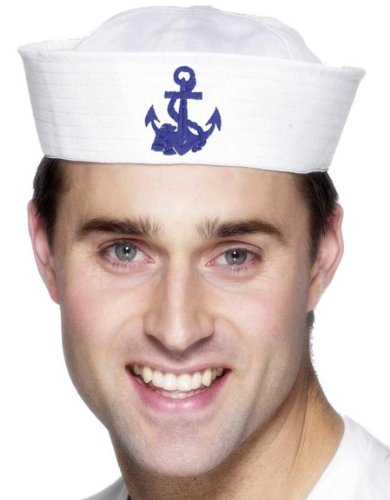 Smiffy's Men's Us Sailor Doughboy Hat with Anchor, White, One Size - 1