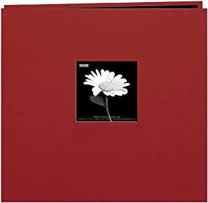 Pioneer 8 Inch by 8 Inch Postbound Fabric Frame Cover Memory Book, Burgundy