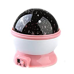 WONFAST® Romantic Fairy Starry Sky Ceiling Moon Star 360°Rotating Night Light Laser Projector Lamp for Christmas Kids Bedroom (Pink)