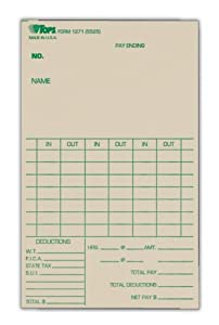TOPS Time Cards, Weekly Format, Green Ink Front, 3.38 x 5.5 Inches, 500-Count, Manila (1271)
