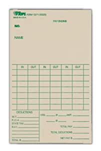 "TOPS Time Cards, Weekly, 1-Sided, 3-3/8"" x 5-1/2"", Manila, Green Print, 500-Count (1271)"