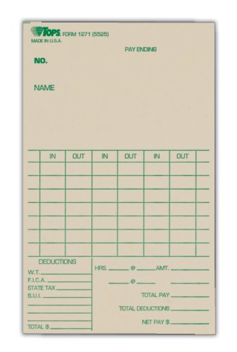 TOPS Weekly Time Cards, Green Ink Front, 3.38 x 5.5 Inches, 500-Count, Manila (1271)