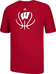 Buy adidas Wisconsin Badgers Red Groove Short Sleeve Basketball T-Shirt by adidas