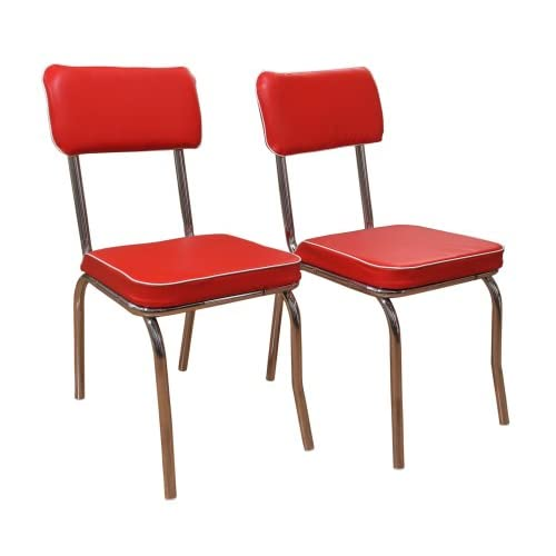 Target Marketing Systems Set of 2 Retro Upholstered Vinyl Dining Chairs with Chrome Accents, Red