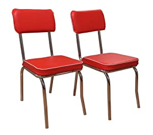 TMS Retro Dining Chair Set Of 2 Red Chairs