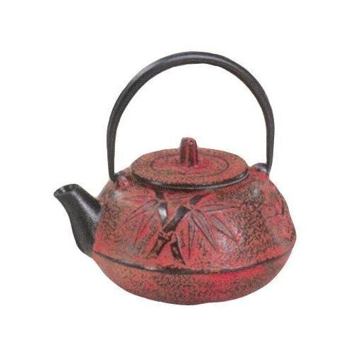Phoenix Teas 20 Fl Oz Cast Iron Red Bamboo Teapot, Red