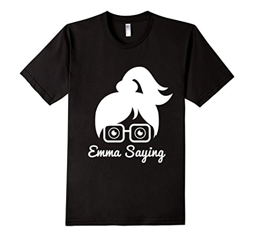 Mens-EmmaSaying-Fan-Club-Logo-T-Shirt-Nerdy-Girl-With-Glasses-Black