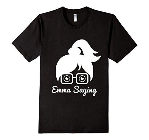 Mens-EmmaSaying-Fan-Club-Logo-T-Shirt-Nerdy-Girl-With-Glasses-Black