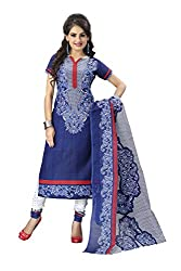 Galaxy Women's A-Line Blue Printed Salwar Suite Dress Material (Free Size_Blue)