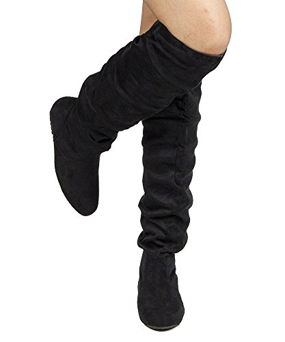 Women's TREND-Hi Over-the-Knee Thigh High Flat Slouchy Shaft Low Heel Boots by ROOM OF FASHION BLACK SUEDE (8.5)