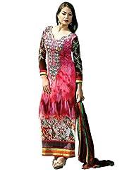 Suchi Fashion Pink & Brown Embroidered Georgette Semi Stitched Salwar Suit