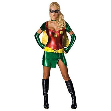TY Women's Halloween Robin Hood Anime God Turtle Cosplay Party Costume(Green and Red)
