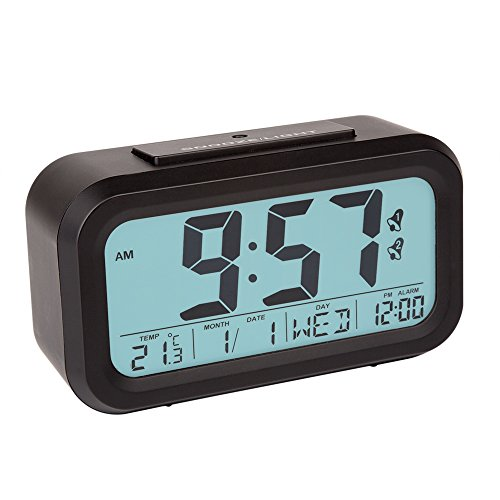 Peakeep® Easy set Smart Light Activated Dual Alarm Clock With Snooze Function, Showing Time, Temperature, Month, Date, Day, Alarm Time_ Optional Weekend/Weekday Mode (Black)
