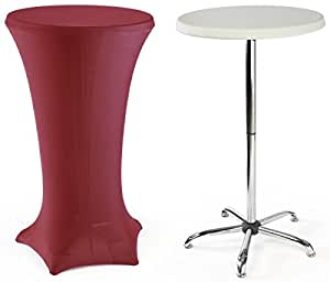 "High-Top Cocktail Tables Are Portable, Include a 47"" Tall Table and a Red Stretch Fabric Cover."