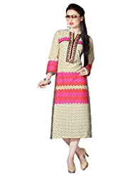 Shonaya Cream & Pink Color Printed Cotton Stitch Kurti