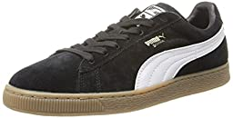 PUMA Suede Classic Leather Formstrip Sneaker,Black/White,11 M US