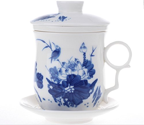 Moyishi Chinese Teaware White Porcelain Bone Tea Cups Tea Mug (With Lid) Blue Birds On Lotus