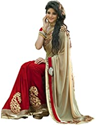 B Bella Creation Women's Beigh And Red Colour Heavy Embroidered Georgette Bollywood Designer Party Wear Saree...