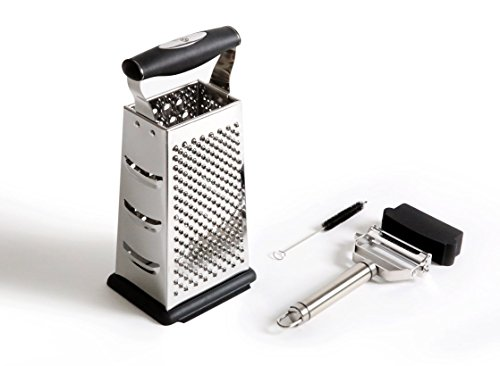 Benchusch 4 Sided Grater Box & Peeler Set - Covers all of your grating and peeling needs - Premium stainless for slicing everything with ease and efficiency - Glide effortlessly toward delicious meals (Electric Cheese Grater Rotary compare prices)