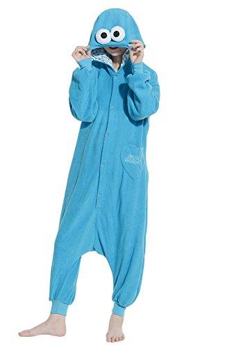 Fandecie Unisex Adulto Anime Onesie Cosplay Halloween Costume Kigurumi Pigiama Tutina con Cappuccio Homewear Sesame Street Blu Adatto ad Alta 160-175cm