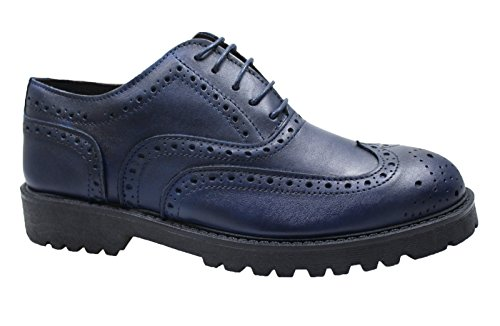 Scarpe Francesine uomo blu pelle artigianali sneaker casual Made in Italy taglia 39 40 41 42 43 44 (42, blu)