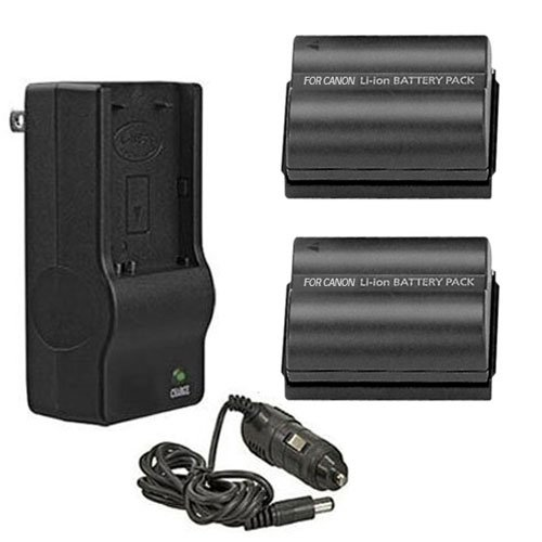 2 Replacement Batteries and Multi Voltage Battery Charger For Canon EOS 5D, 10D, 20D, 20Da, 30D, 40D, 50D, D30, D40, And 300D/Digital Rebel SLR Cameras