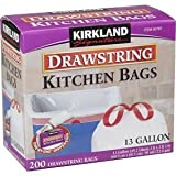 Kirkland Signature Drawstring Kitchen Trash Bags – 13 Gallon – 200 Count