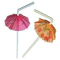 Ezee Multicolour Umbrella Straw - 100 Pieces