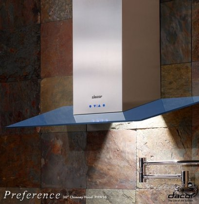 """Phg30Bu 30"""" Preference Wall Mounted Hood Glass Canopy: Blue front-539174"""