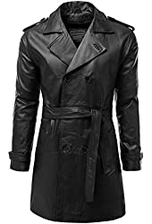 IDARBI Men's Double-Breasted Genuine Leather Trench Coat Jacket