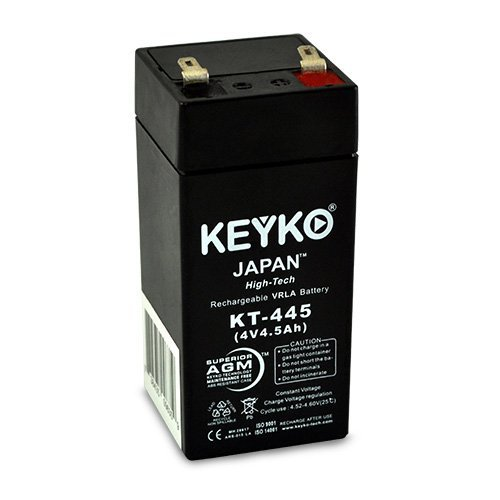 4V 4.5Ah REAL Capacity SLA Sealed Lead Acid Genuine KEYKO AGM Rechargeable Replacement Battery (W/F1 Terminal) by KEYKO (4 Volt Sealed Lead Acid Battery compare prices)