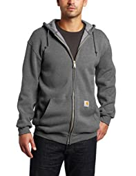 Carhartt Men's Big & Tall Midweight Sweatshirt Hooded Zip Front Original Fit,Charcoal Heather,X-Large Tall