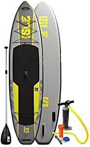 """Isle 11 ft Explorer Inflatable Stand Up Paddle Board with Pump and 3 Piece Adjustable Paddle (6"""" Thick) Super Durable"""