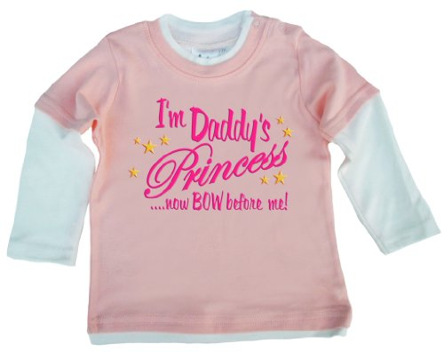 Dirty Fingers - I'M Daddy'S Princess...Now Bow Before Me - Baby Clothing, Layered Skater Top, Pale Pink & White, 12/18 Months