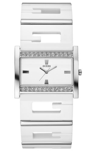 Guess Ladies 'G Status' Stone Set Steel Case with White Resin Strap Watch