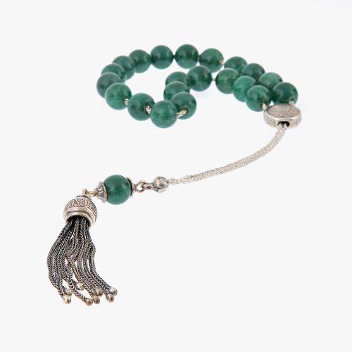 Aventurine Gemstone Handmade Worry Beads (Komboloi) Sterling Silver 925, Style A - Free Shipping WorldWide