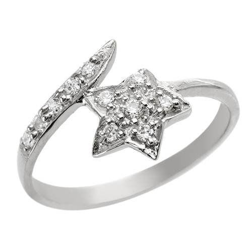 Sterling Silver 0.55 CTW Cubic Zirconia Ladies Ring. Ring Size 6. Total Item weight 1.4 g.