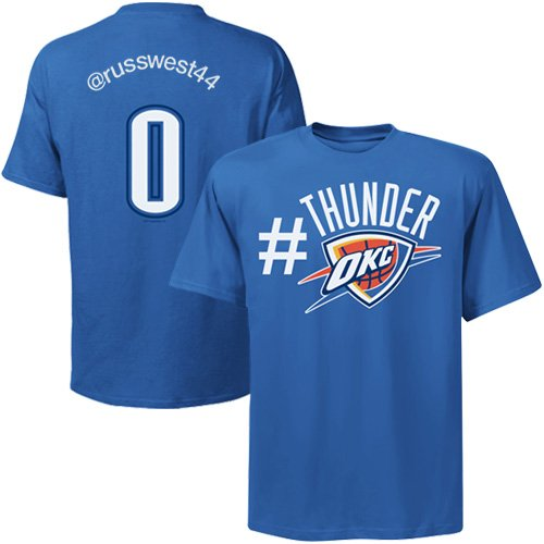NBA Majestic Russell Westbrook Oklahoma City Thunder #0 Twitter T-Shirt – Light Blue (Large)