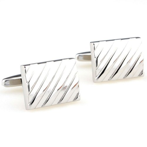 Beour White-gold-plated-silver Delicate Silver Copper Rectangle Cufflinks