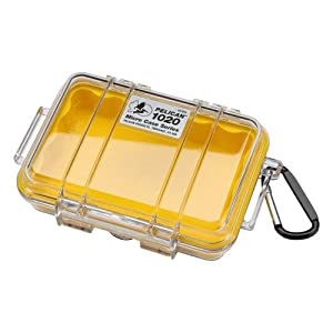 Pelican 1020 Micro Case with Clear Lid and Carabineer, Yellow