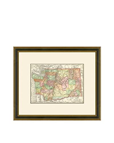 Vintage Print Gallery Antique Map Of Washington 1886-1899, Multi, 17.5 x 20.5